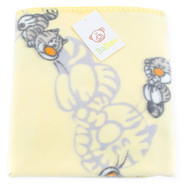 Baby fleece blanket 01 yellow kitty