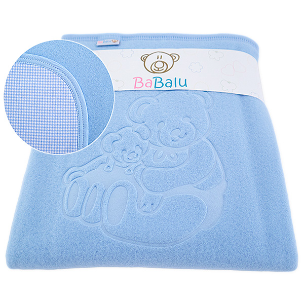 Fleece-cotton blanket with dedication 015 blue 80x90