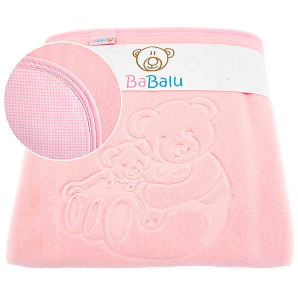 Fleece-cotton blanket with dedication 015 pink 80x90