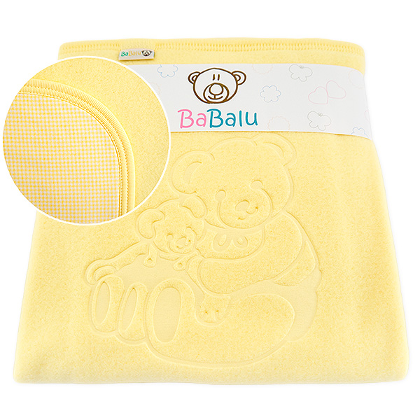 Fleece-cotton blanket with dedication 015 yellow 80x90