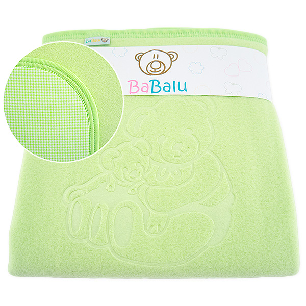 Fleece-cotton blanket with dedication 015 green