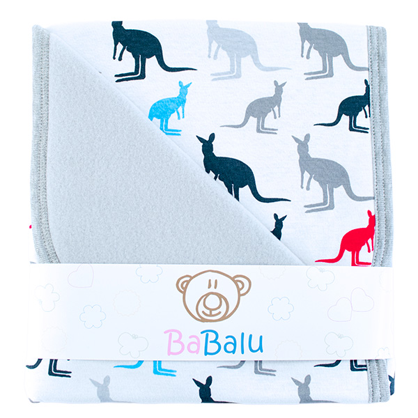 Baby fleece-cotton blanket 016 kangaroos