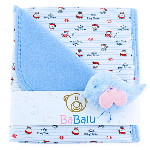 Baby fleece-cotton blanket 016 marine