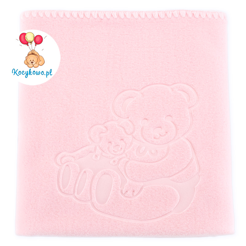 Baby fleece blanket with dedication 035 pink 85x110