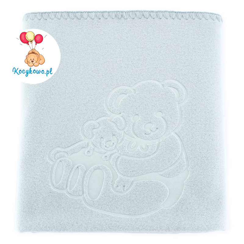Baby fleece blanket with dedication 035 grey 85x110