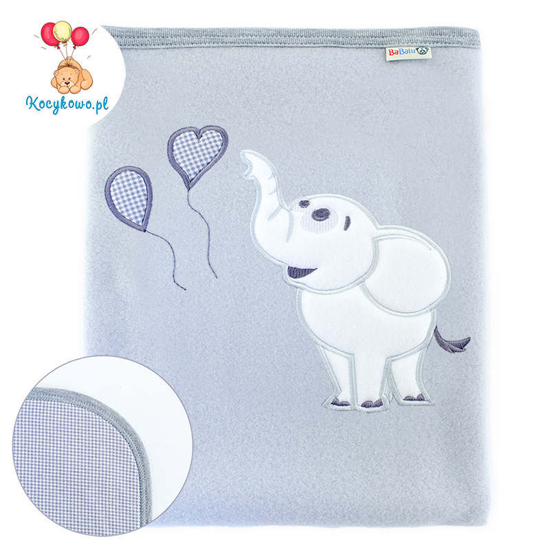 Big blanket with name Elephant with baloons gray
