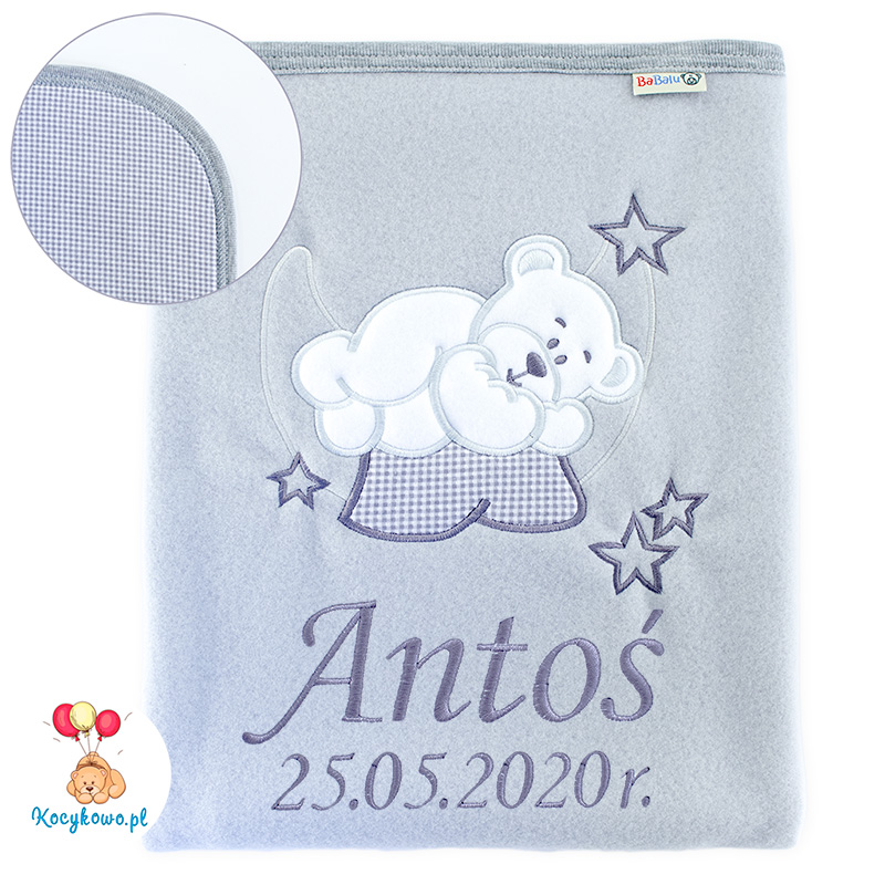Big blanket with name teddy bear on the moon 052 grey