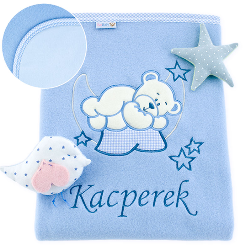 Big blanket with name teddy bear on the moon 052 blue