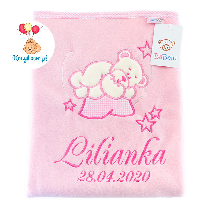 Big blanket with name teddy bear on the moon 052 pink
