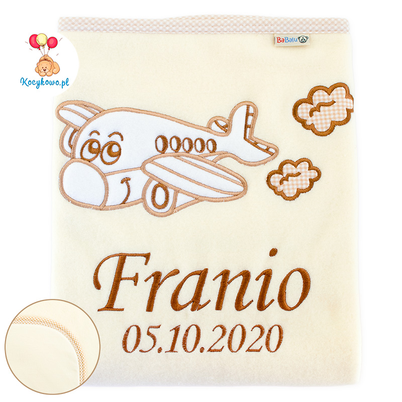 Big blanket with name Airplane with clouds ecru