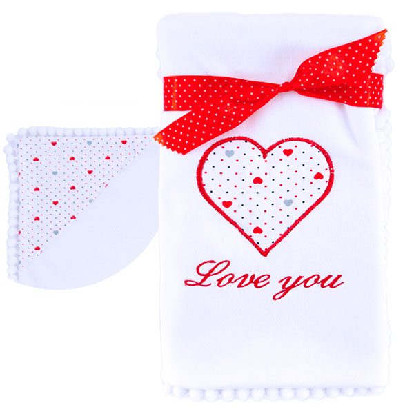 Cotton blanket Love you 071 hearts 80x80