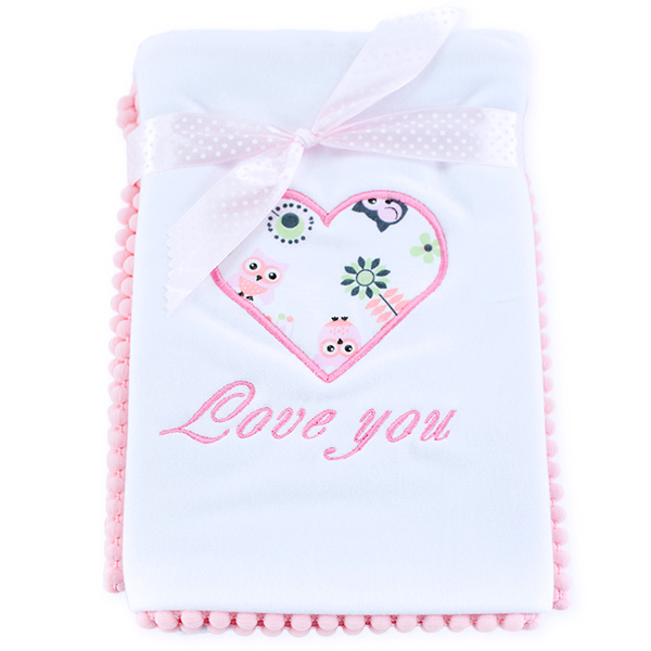 Cotton blanket Love you 071 owls 80x80
