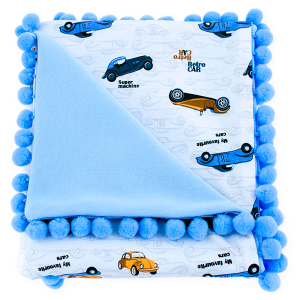 Cotton blanket Sophie 072 retro cars 80x90