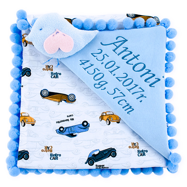 Cotton blanket with dedication Sophie 072 retro cars