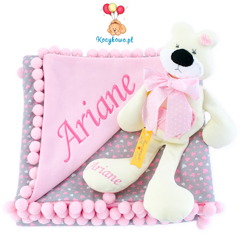 Cotton blanket with dedication Sophie 072 80x90 hearts