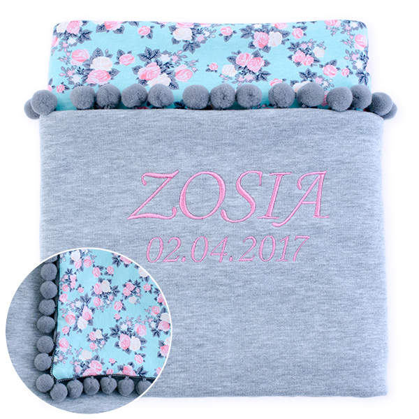 Cotton blanket with dedication Sophie 072 80x90 roses