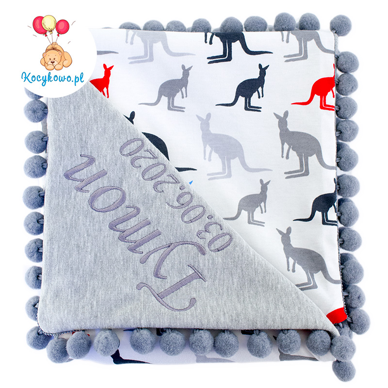 Cotton blanket with dedication Sophie 072 80x90 kangaroos