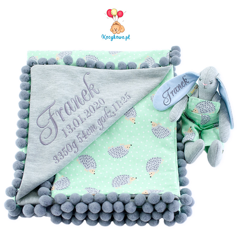 Cotton blanket with dedication Sophie 072 80x90 hedgehog