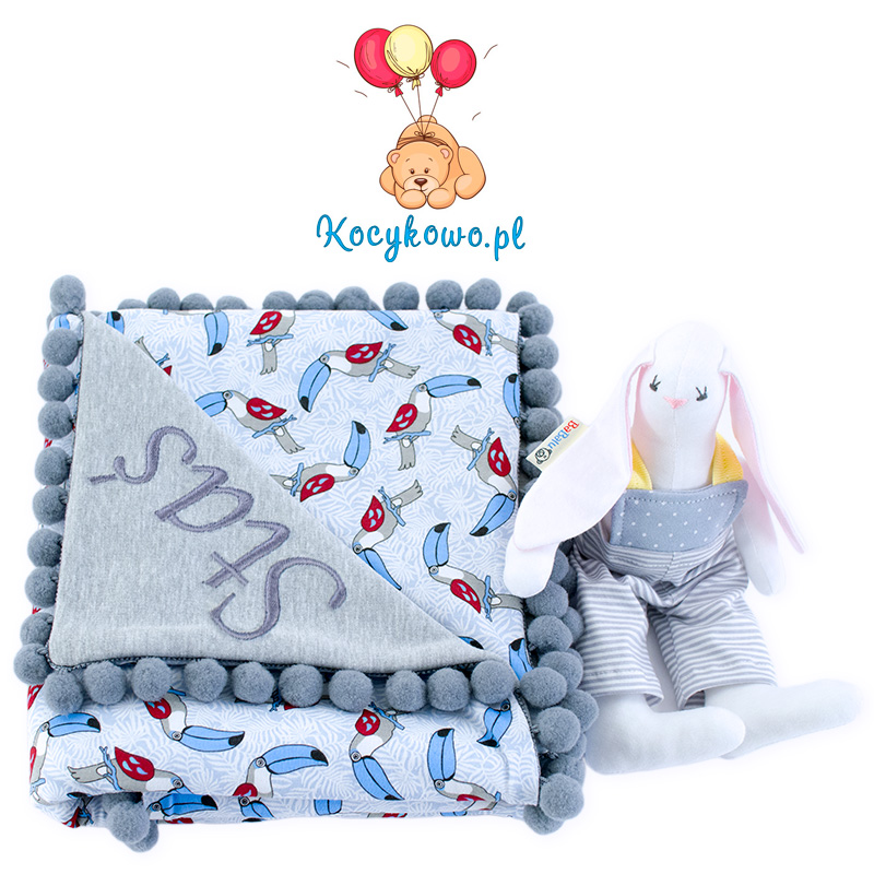 Cotton blanket with dedication Sophie 072 toucans