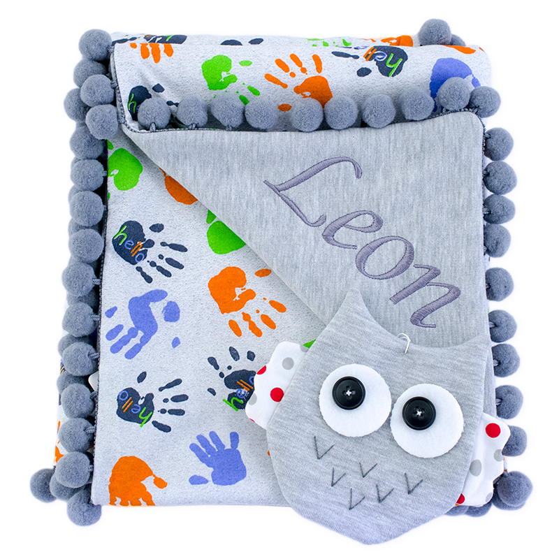 Cotton blanket with dedication Sophie 072 80x90 Hello