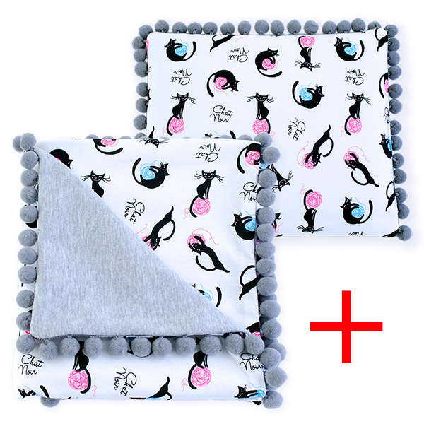 Cotton set (blanket+pillow) 080 Sophie kitten 80x90+28x34