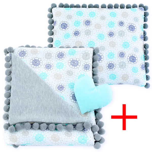 Cotton set (blanket+pillow) 080 Sophie flower 80x90+28x34