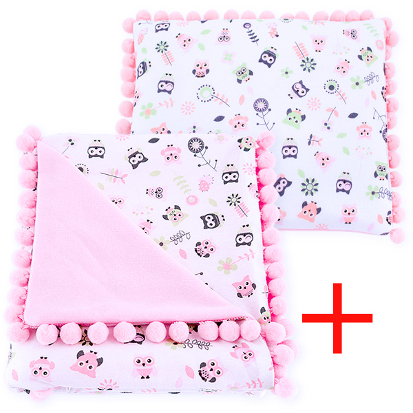 Cotton set (blanket+pillow) 080 Sophie owls 80x90+28x34