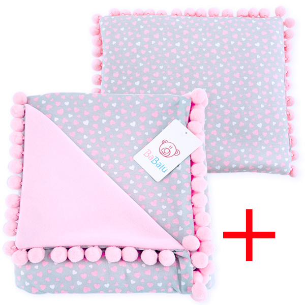 Cotton set (blanket+pillow) 080 Sophie hearts 80x90+28x34