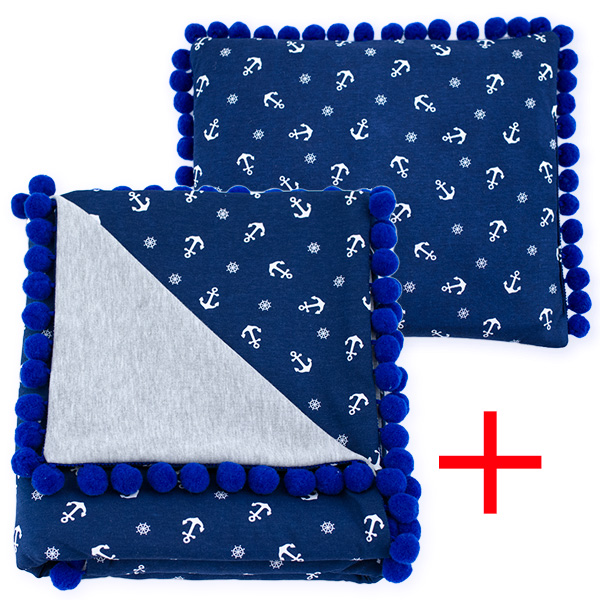 Cotton set (blanket+pillow) 080 Sophie marine 80x90+28x34