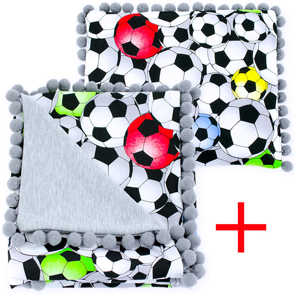 Cotton set (blanket+pillow) 080 Sophie football 80x90+28x34