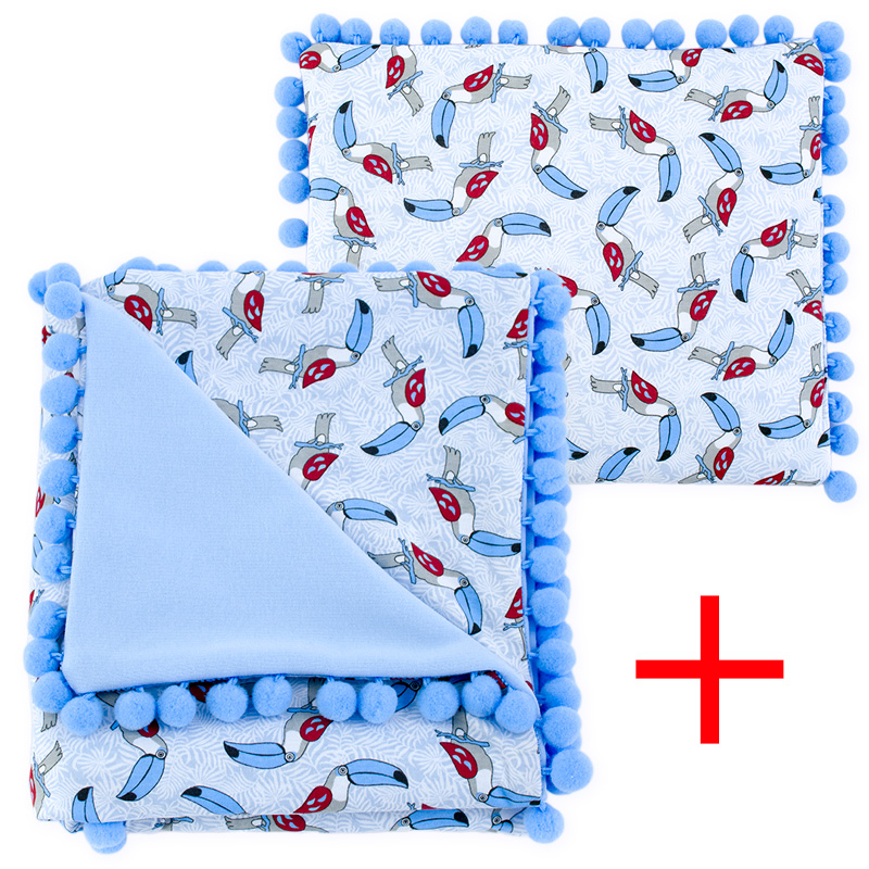 Cotton set (blanket+pillow) 080 Sophie toucans 80x90+28x34
