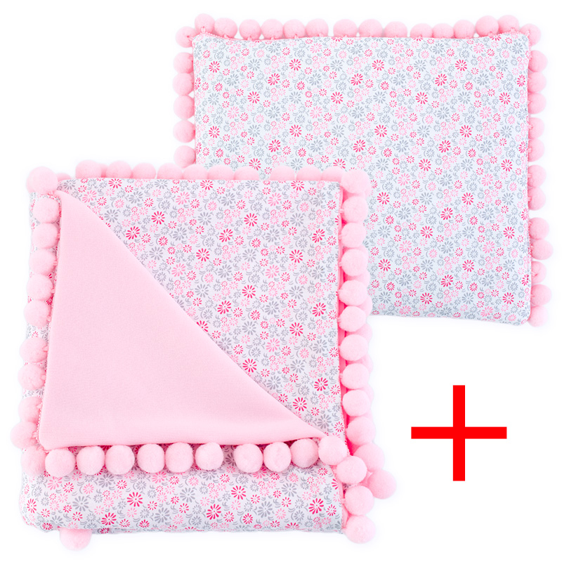 Cotton set (blanket+pillow) 080 Sophie flowers 80x90+28x34