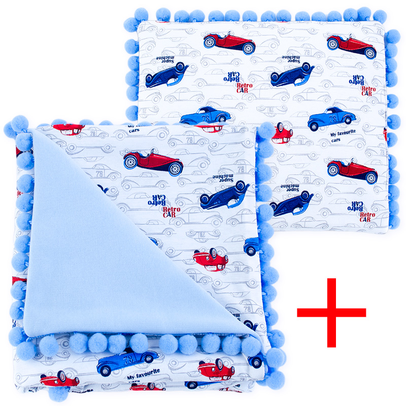 Cotton set (blanket+pillow) 080 Sophie retro cars 80x90+28x34