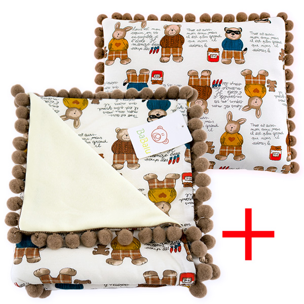Cotton set (blanket+pillow) 080 Sophie bear 80x90+28x34