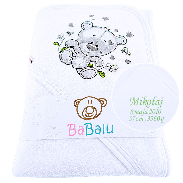 Bath towel 038 with a dedication white 100x100
