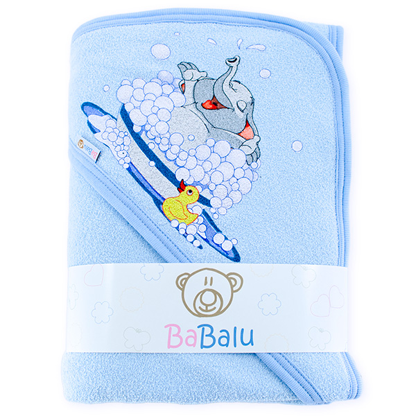 Thick bath towel 038 two layers blue