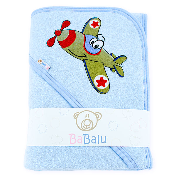 Thick bath towel 038 two layers blue plane 100x100