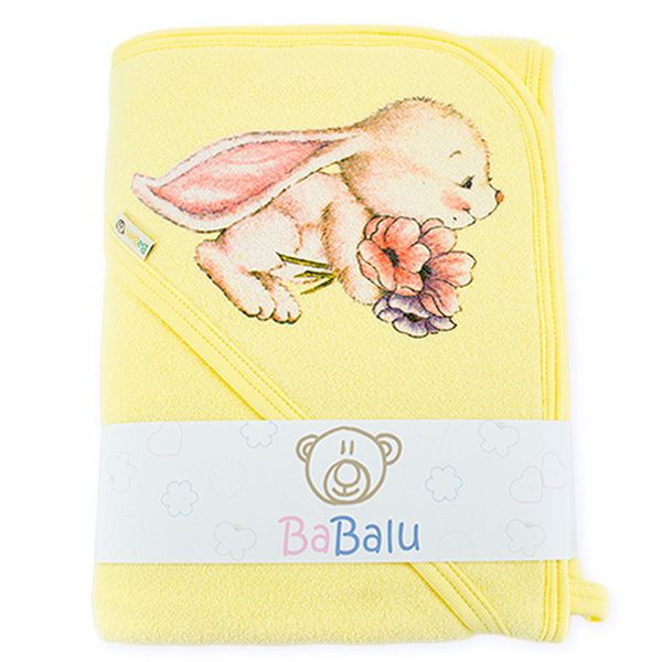 Bath towel 038 with a dedication yellow 100x100