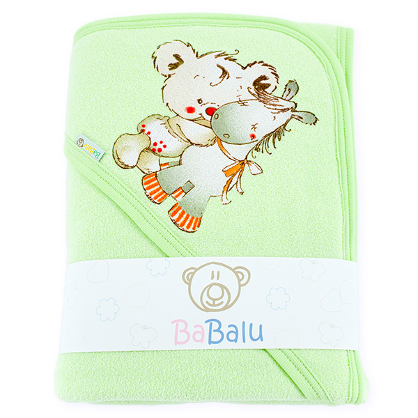Bath towel 038 with a dedication green 100x100