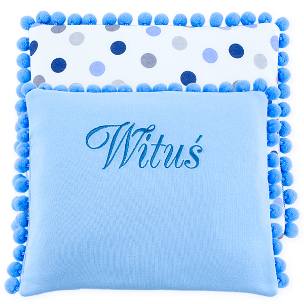 Cotton pillow with dedication 075 Sophie bubbles 28x34