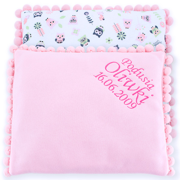 Cotton pillow with dedication 075 Sophie owls 28x34