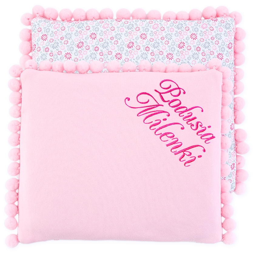 Cotton pillow with dedication 075 Sophie flowers 28x34
