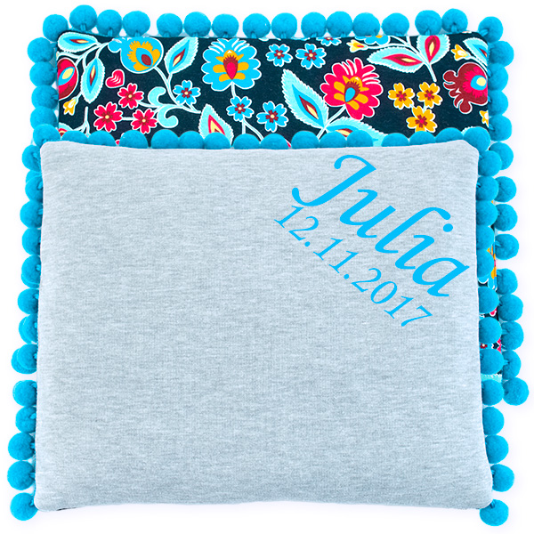 Cotton pillow with dedication 075 Sophie folk 28x34
