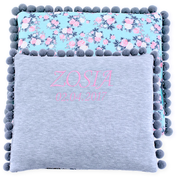 Cotton pillow with dedication 075 Sophie roses 28x34