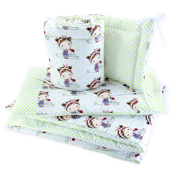 BaBalu double layer bedding set-5el. 100x120 ladybug girl