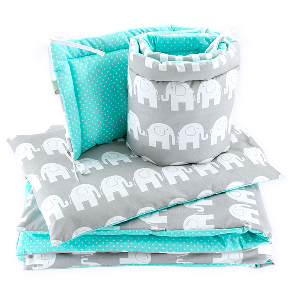 BaBalu double layer bedding set-5el. 100x120 elephants