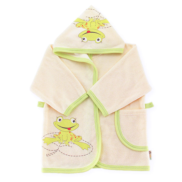 Bathrobe frog with dedication size ecru